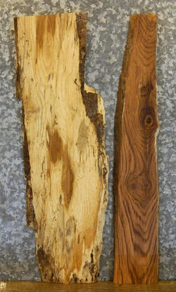 2- White/Red Oak Partial Live Edge Craft Pack/End Table Top Slabs 13027-13028