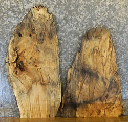 2- Rustic Natural Edge Spalted Maple End/Entry/Side Table Top Slabs 13041-13042