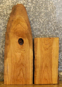 2- Live Edge Cherry End/Entry/Side Table Top Rustic Wood Slabs 13108-13109