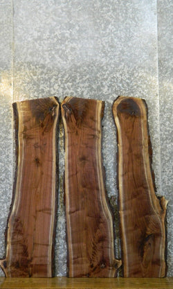 3- Bookmatched Black Walnut Live Edge Bark Log Set/Lumber Slabs 1317-1319