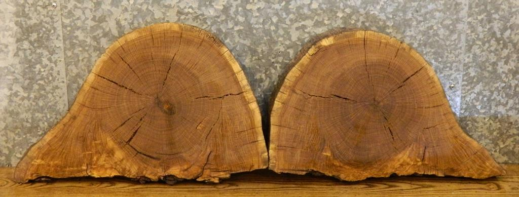 2- End/Entry Table Top Partial Live Edge White Oak Oval Cut Slabs 14222-14223