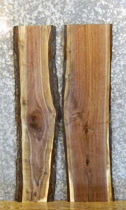 2- Rustic Live Edge Bark Black Walnut Bookmatched End Table Tops 1553-1554