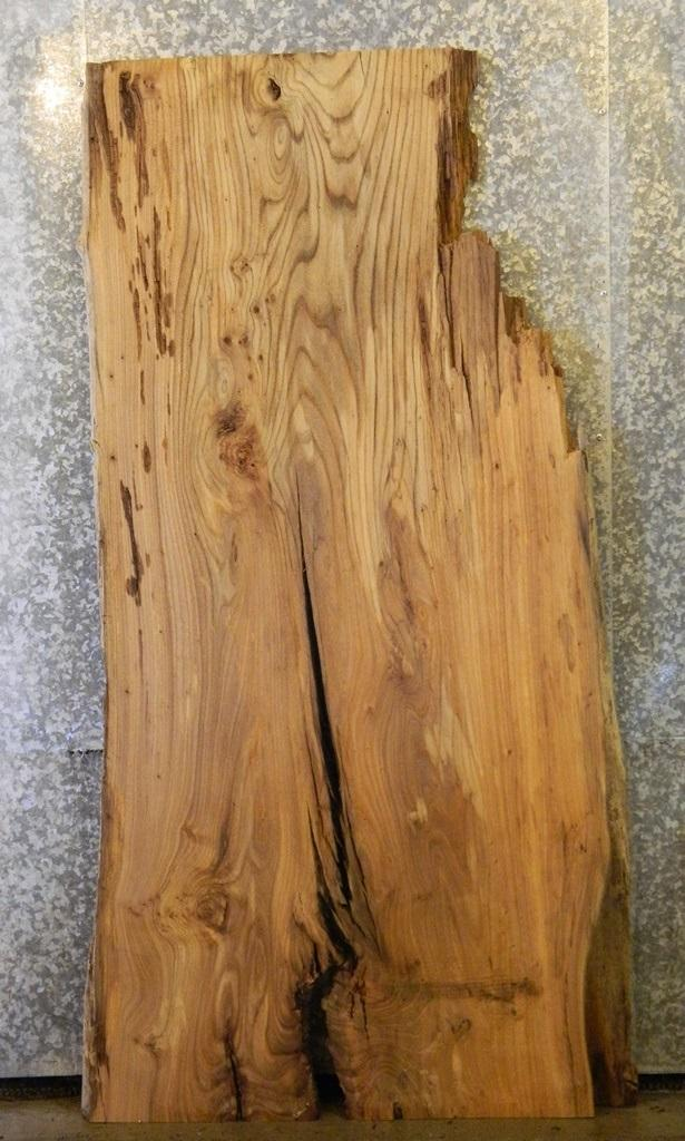 Very Rustic Partial Natural Edge Elm Kitchen Table Top Wood Slab 39801