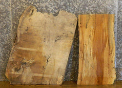 2- Rustic Partial Live Edge Spalted Maple End Table Top Wood Slabs 40327,40329