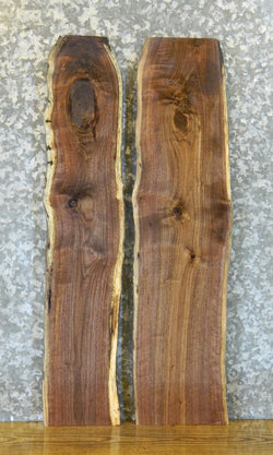2- Rustic Live Edge Black Walnut Bookmatched Book Shelf Slabs 40422-40423