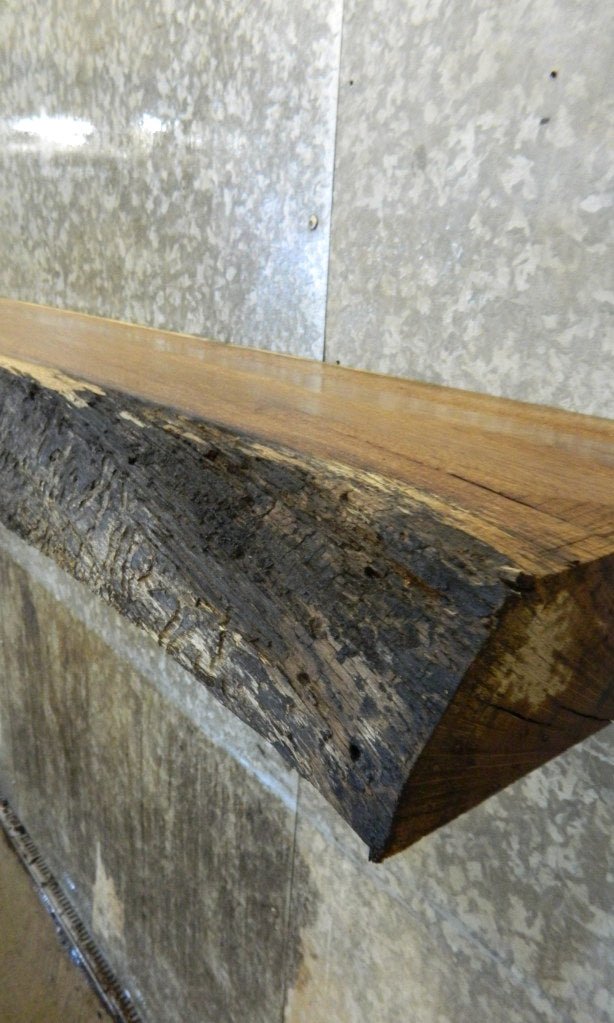 Rustic Partial Live Edge White Oak Floating Shelf/Mantel Slab 40765