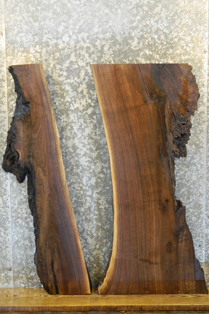 2- Live Edge Black Walnut Split Board/River Table Slab Halves 42091