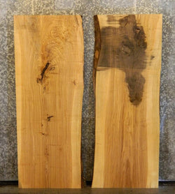 2- Bookmatched Live Edge Ash Kitchen Table/Office Desk Top Slabs 4365-4366
