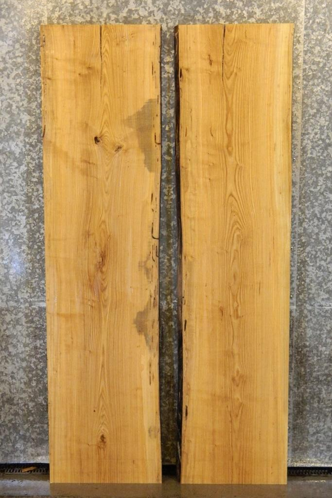 2- Salvaged Live Edge Bookmatched Dining Table Top Ash Wood Slabs 4444-4445