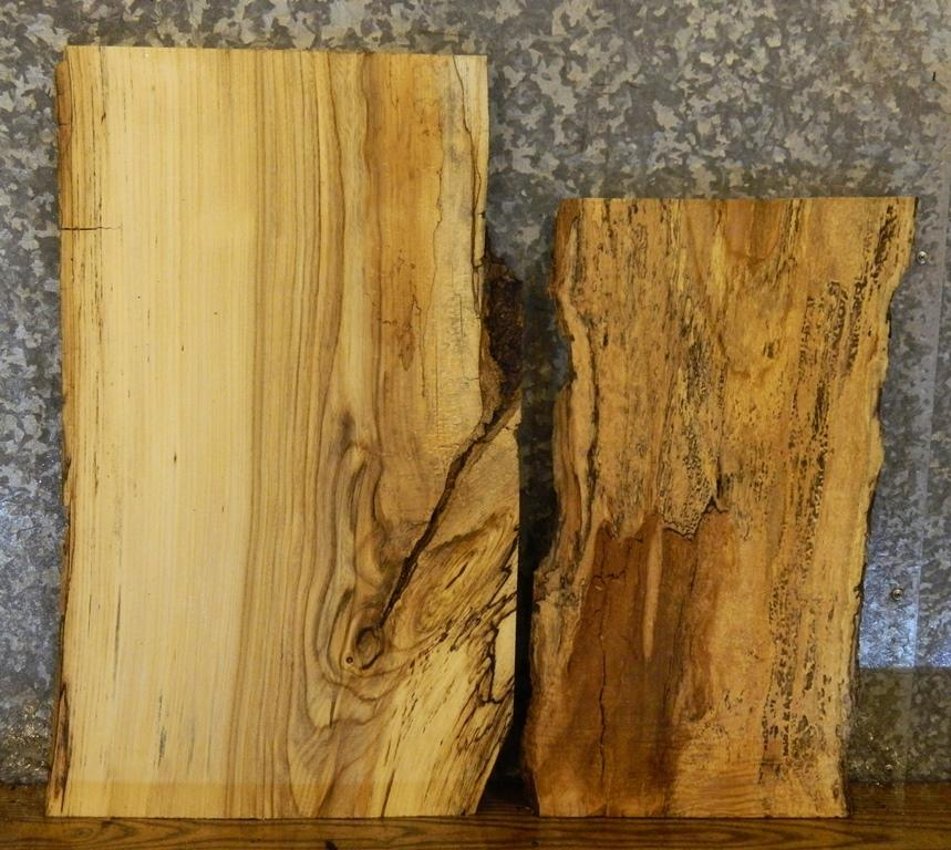 2- Partial Natural Edge Hackberry/Maple End Table Top Wood Slabs 5166,5192