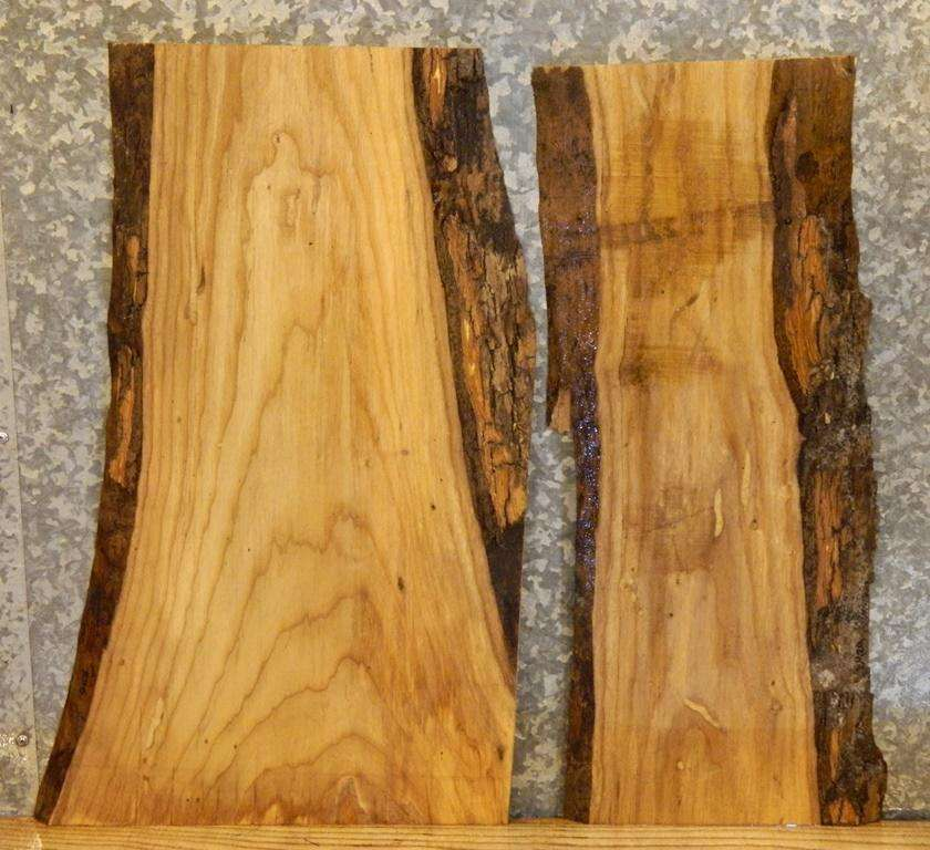 2- Partial Natural Edge End/Side Table Top Rustic Ash Wood Slabs 5428-5429