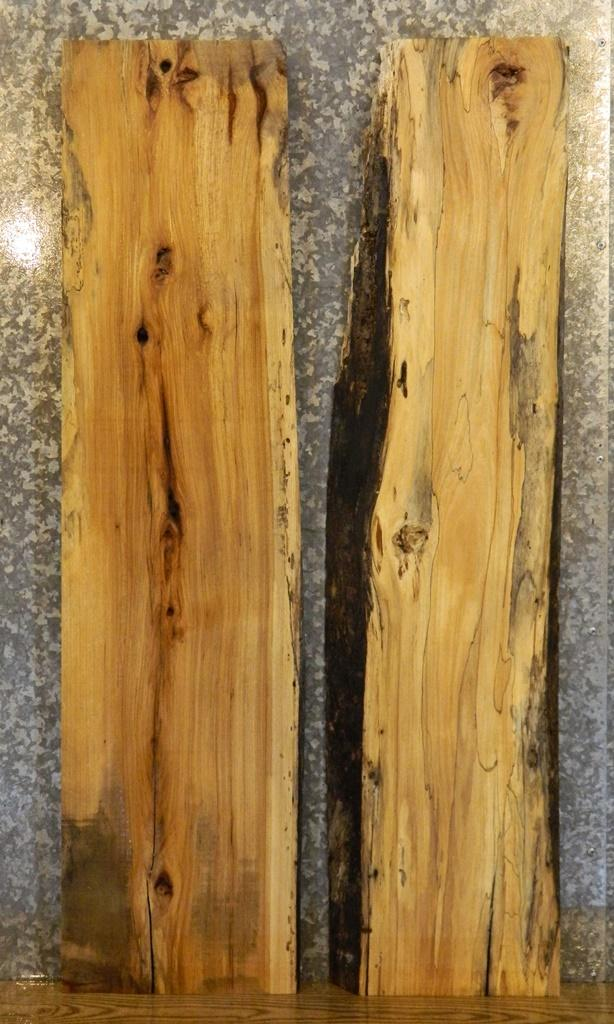 2- Live Edge Hackberry Desk/Kitchen Table Top Bookmatched Slabs 554-555