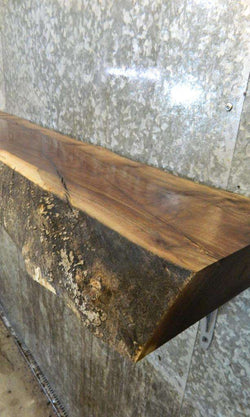 Partial Live Edge Black Walnut Mantel/Trestle Wood Slab 7018