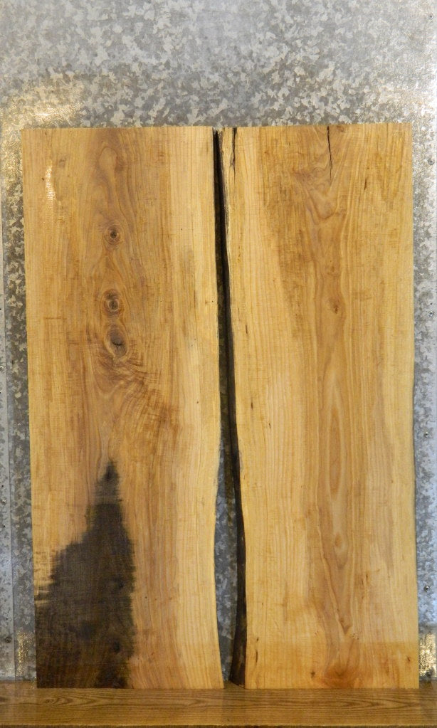 2- Natural Edge Bookmached Ash Kitchen Table Top Slabs 7030-7031