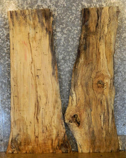 2- Rustic Live Edge Spalted Maple Sofa/Side Table Top Wood Slabs 725-726