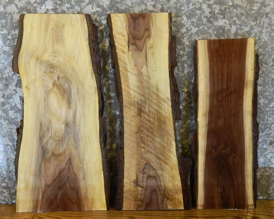 3- Reclaimed Natural Edge Black Walnut Wall Shelf Slabs/Craft Pack 7931-7933