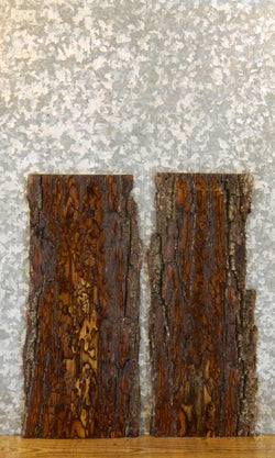 2- Reclaimed Black Walnut Live Edge Bark Wall/Book Shelf Slabs 8091-8092