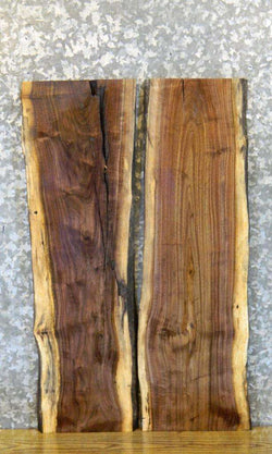 2- DIY Live Edge Black Walnut Bookmatched Charcuterie Boards 8197-8198