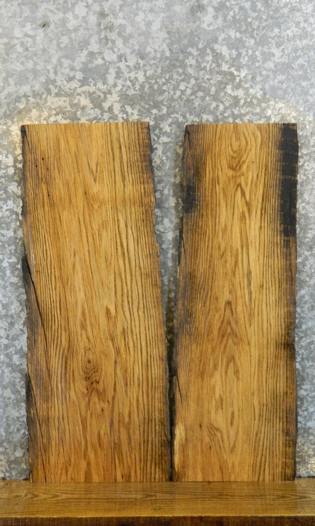 2- Reclaimed Red Oak Live Edge Side/End Table Top Slabs 8197-8198
