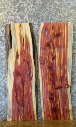 2- Bookmatched Live Edge Red Cedar Side/End Table Top Slabs 8203-8204