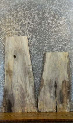 2- Live Edge Rustic Cottonwood End/Entry/Side Table Top Slabs 8255-8256