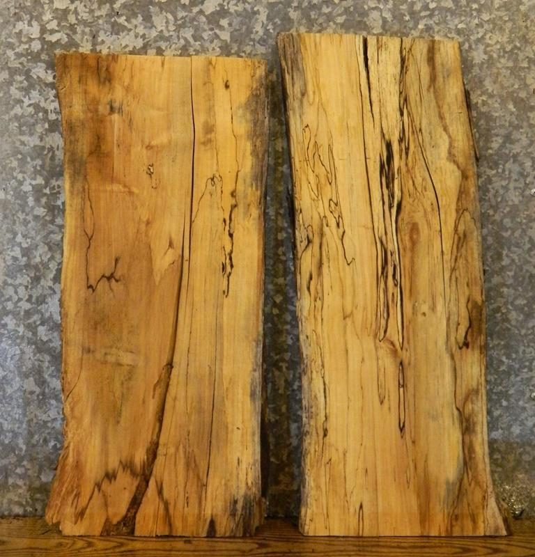 3- Live Edge Spalted Maple End Table Top/Split Board Rustic Slabs 8379-8380