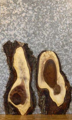 2- DIY Live Edge Bark Rustic Black Walnut Charcuterie Boards 8393-8394