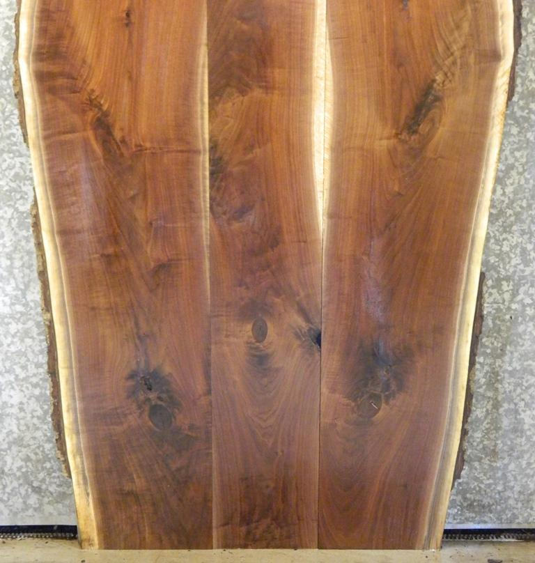 3- DIY Bookmatched Natural Edge Black Walnut Kitchen Table Top Slabs; 913-915