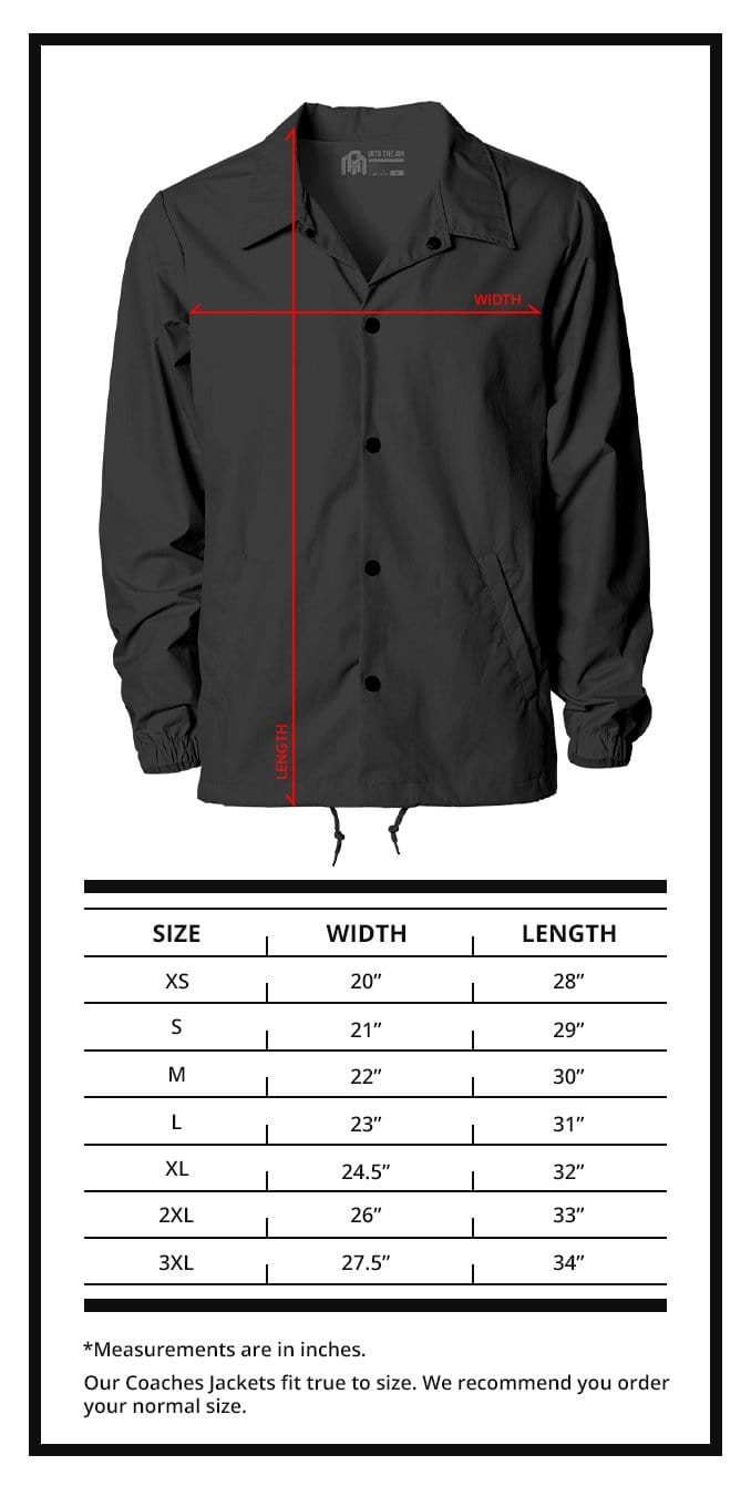 Coaches Jackets Size Chart