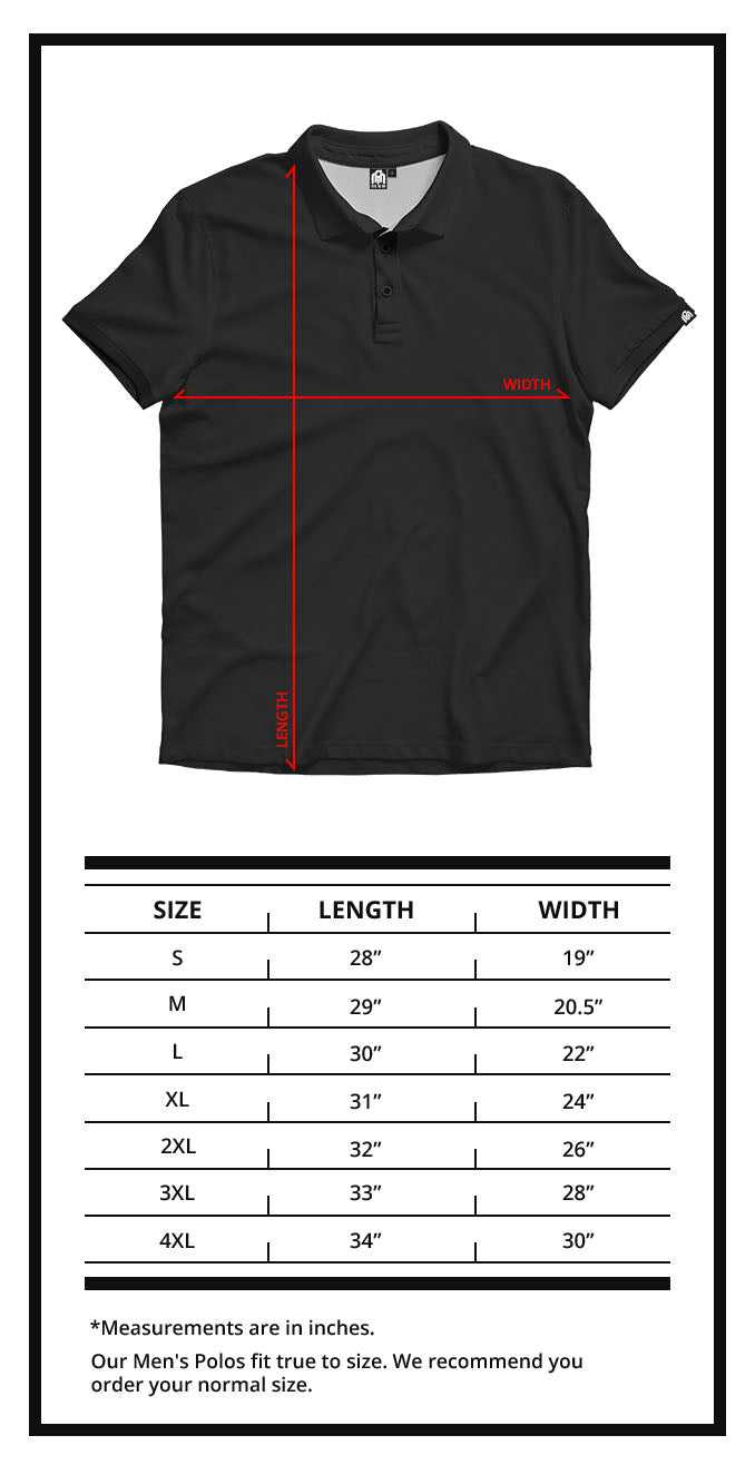Men's Polo Size Chart- INTO THE AM