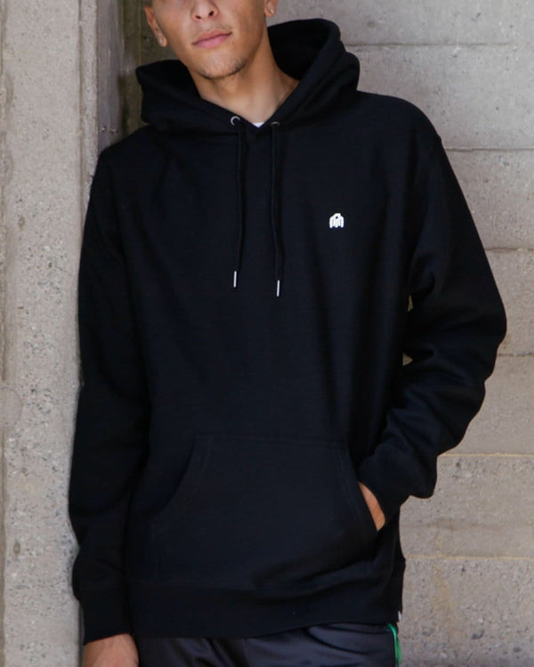 Basic Heavyweight Pullover Hoodie-Black-Lifestyle--Christian---L