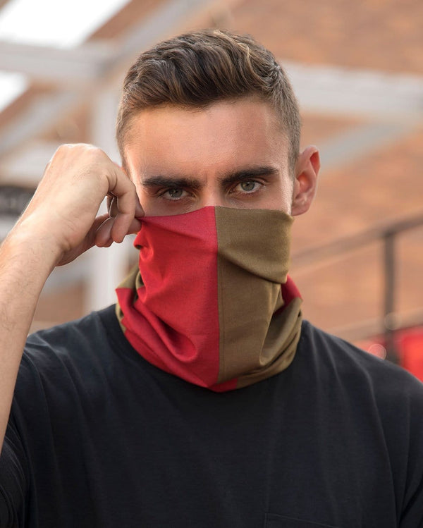 Scarlet Red and Metallic Gold Mask Bandana-Male-Lifestyle