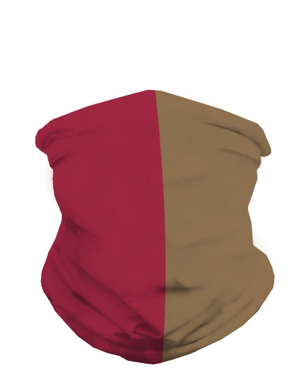 Scarlet Red and Metallic Gold Mask Bandana-Front