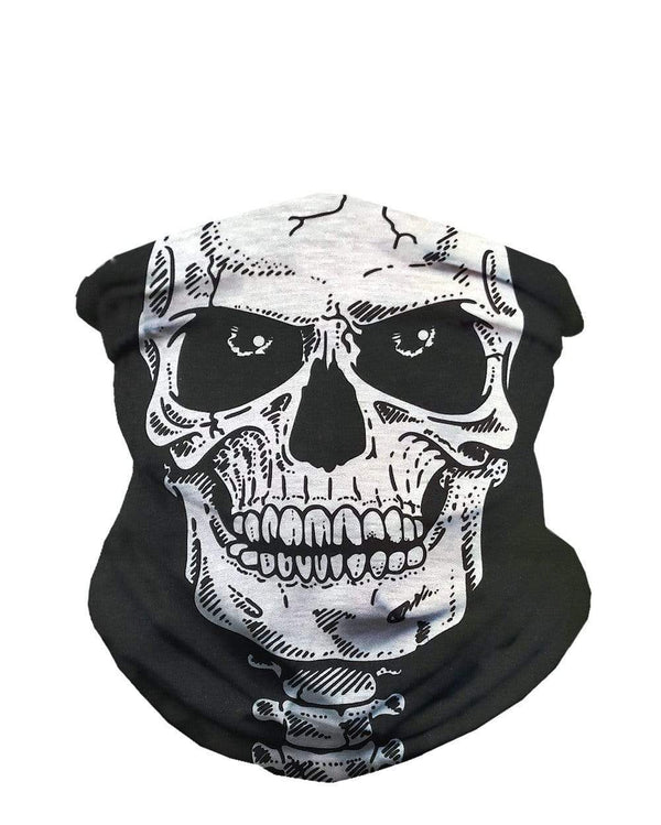 Skeleton Face Seamless Bandana-Front