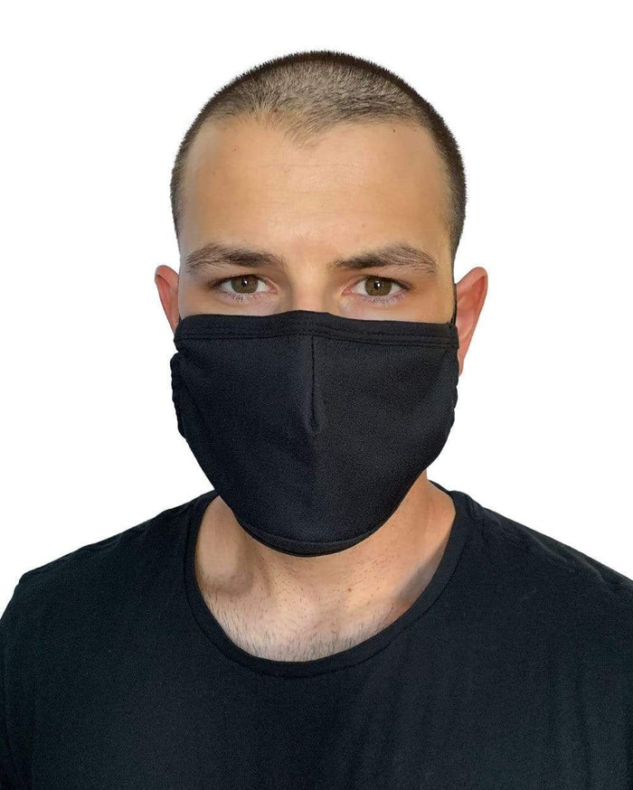 Solid Color Face Mask-Black-Male-Front
