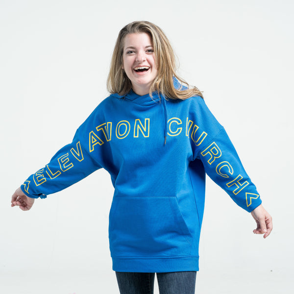 'Elevation' royal blue custom hoodie