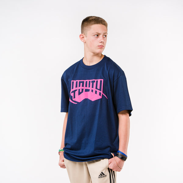 Youth Puff Print Navy Tee