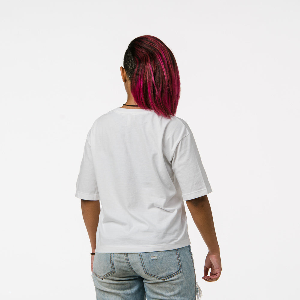 """Reflect"" White Boxy Tee"