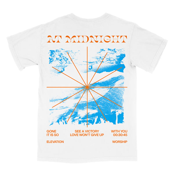 'At Midnight' White Short Sleeve Tee
