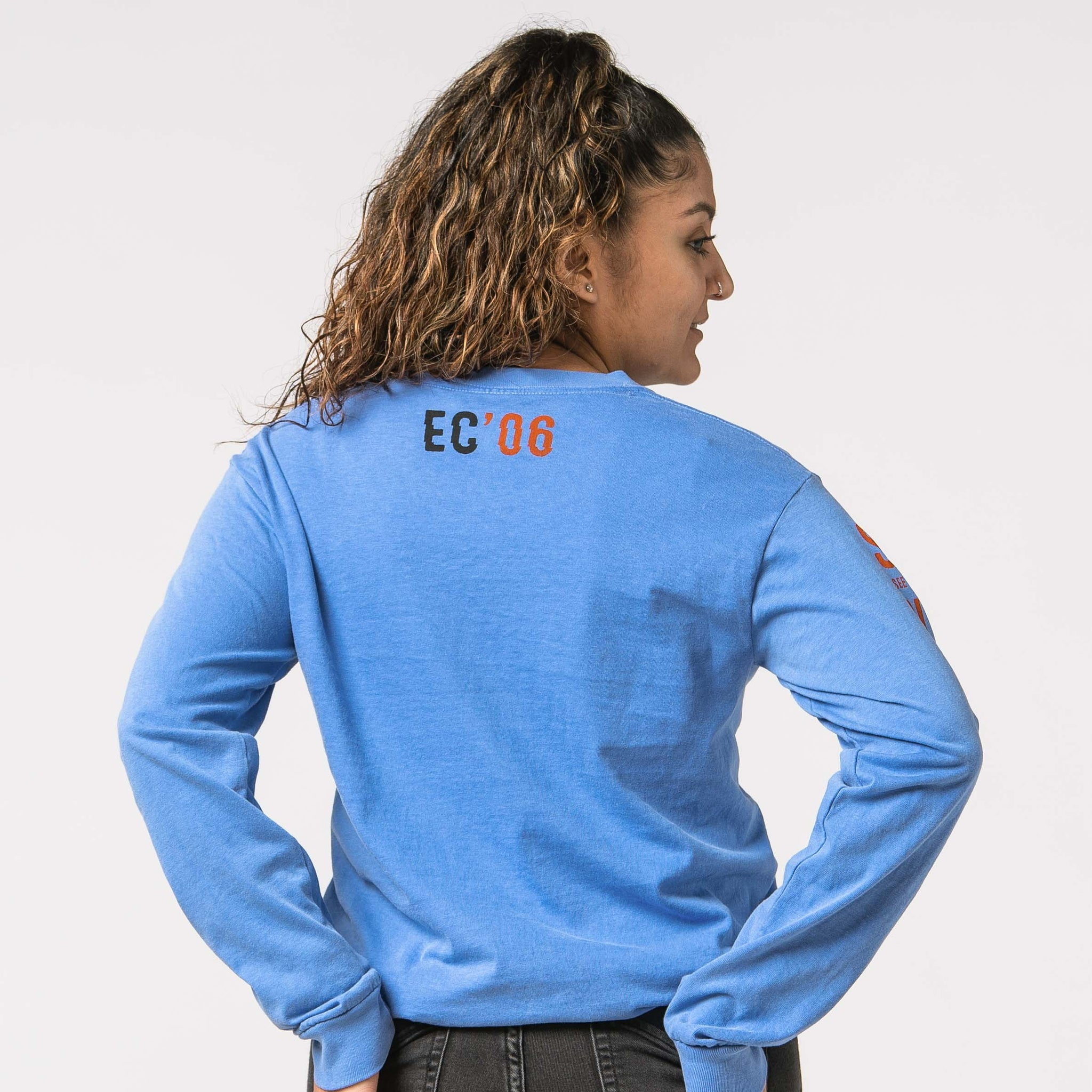 'Elevation' Long Sleeve Blue Tee