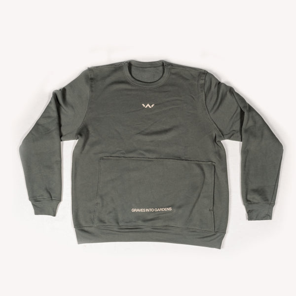 'Graves Into Gardens' Pocket Sweatshirt - Military Green