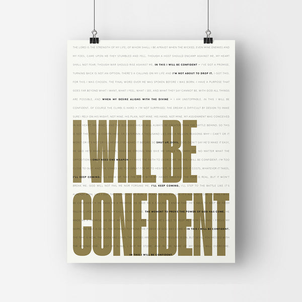 'I Will Be Confident' lyric poster