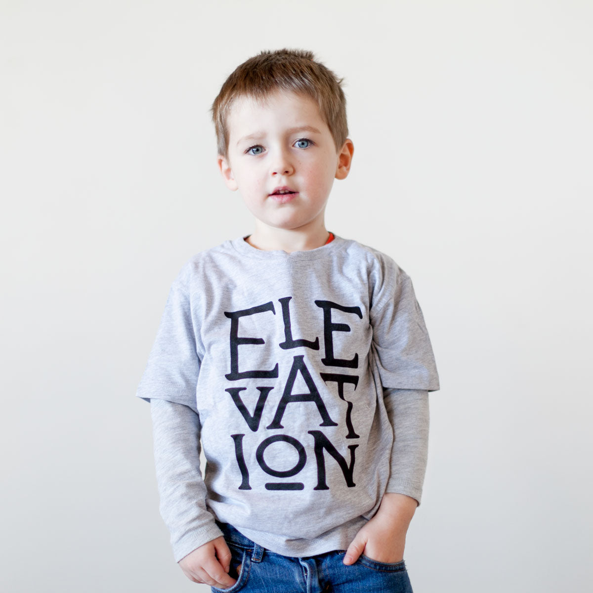 Elevation Kids Tee - Grey with Black