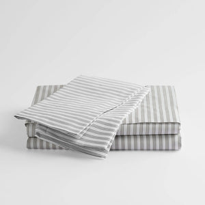 100% Supima Cotton, 400 Thread Count Percale Stripe Sheet Set