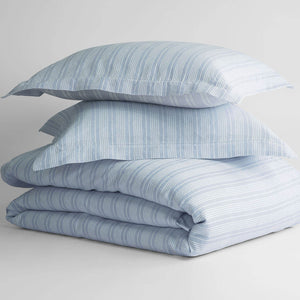 Yarn-Dyed European Linen and Organic Cotton Striped Duvet Set