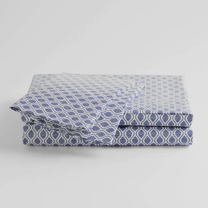 100% Supima Cotton, 400 Thread Count Percale Ogee Print Sheet Set