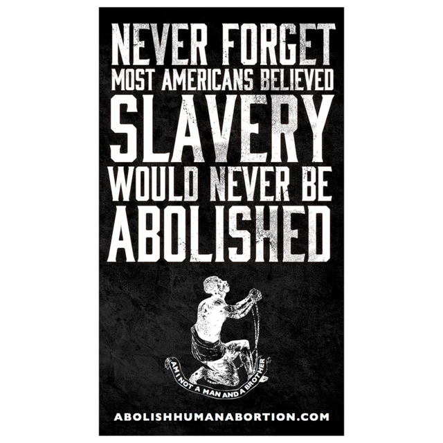 """Never Forget Slavery Was Abolished"" Dropcard"