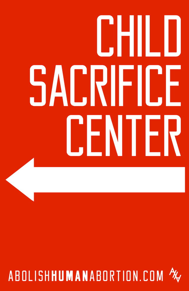 Child Sacrifice Center (Left Pointing Arrow) Sign