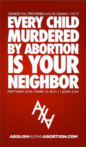 Every Child Murdered By Abortion Drop Card