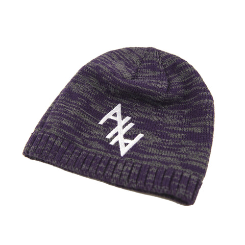 Stitched AHA Beenie (Mottled Purple and Gray)